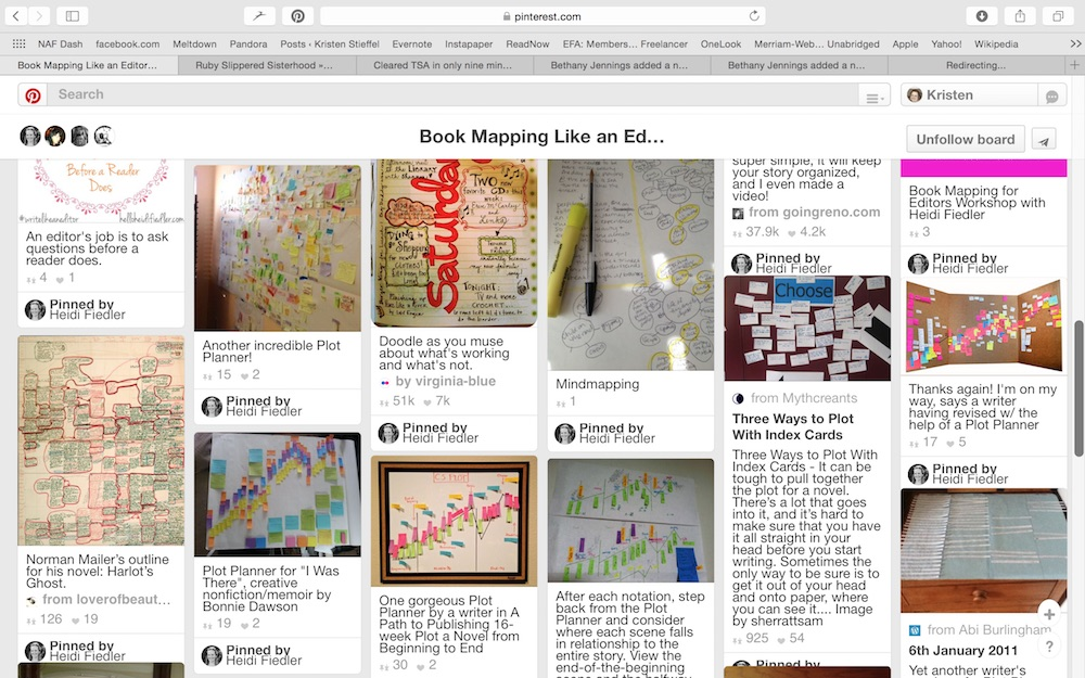 Screenshot of just a part of Heidi Fiedler's Book Mapping Pinterest board.